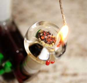 lighting a bowl with a wick